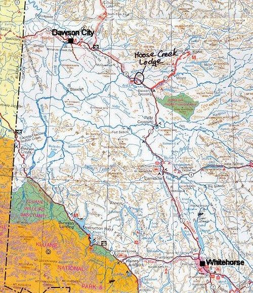 Moose Creek Lodge, Yukon - Location Map on quebec map, northwest territories map, klondike map, nunavut map, mountain creek lake map, british columbia map, inola map, p.e.i map, north america map, canada map, toronto map, whitestone map, newfoundland map, mackenzie mountains map, alberta map, dawson city map, alaska map, skagway map, yangtze map, arizona map,